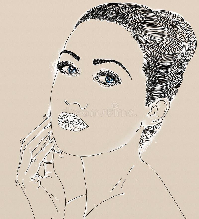 Kvinnlig profilstående med blyerts royaltyfri illustrationer