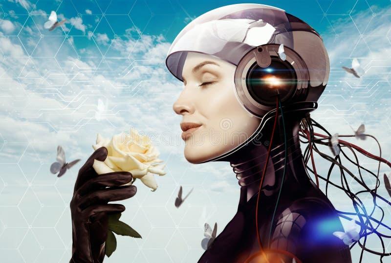 Kvinnlig robot med blomman arkivfoto