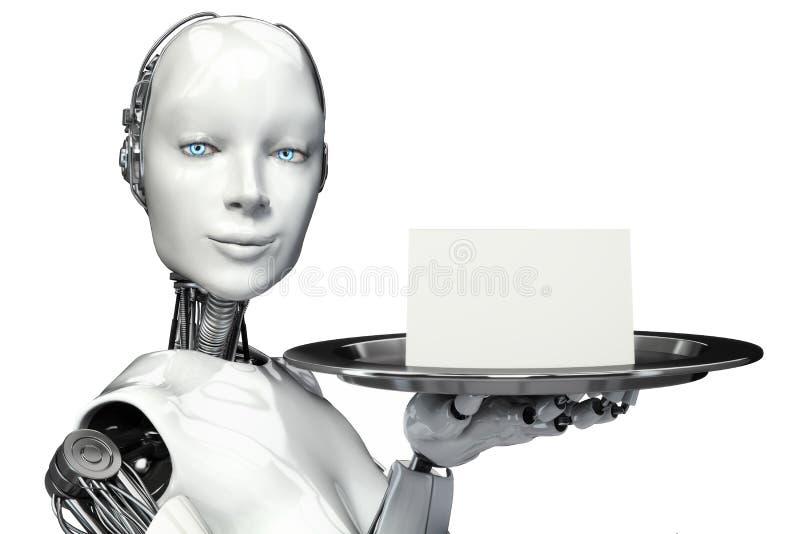 Kvinnlig robot som rymmer ett portionmagasin med en annonsering för tomt kort royaltyfri illustrationer