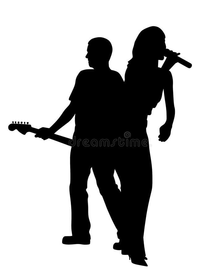 Kvinnlig sångare och mangitarrspelare tillbaka som ska dras tillbaka royaltyfri illustrationer