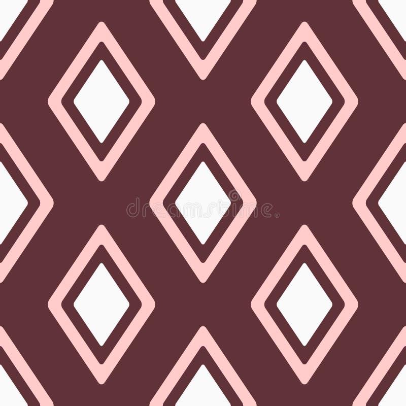 Kvinnlig sömlös modell med att upprepa romber Enkelt geometriskt tryck för kvinnor Vit rosa färg, brunt stock illustrationer