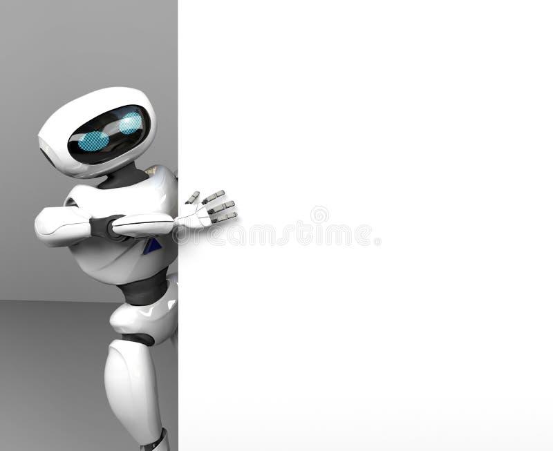 Kvinnlig searth f?r robot i internet, 3d att framf?ra royaltyfri illustrationer