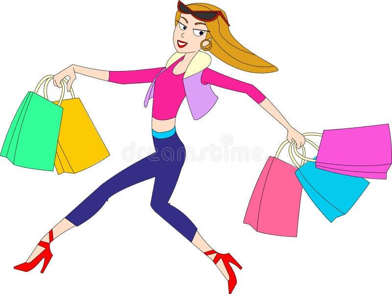 Kvinnlig shoppare stock illustrationer