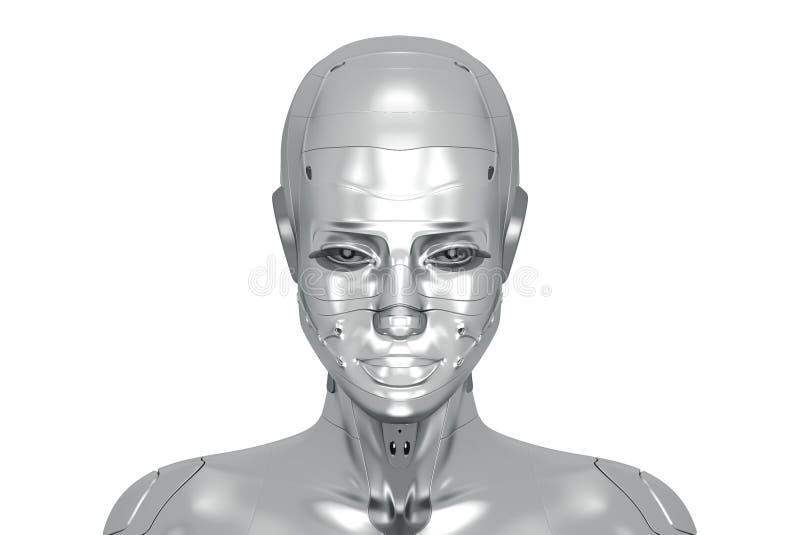 Kvinnlig silvercyborg 向量例证