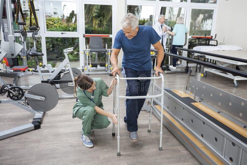 Kvinnlig sjuksköterska Assisting Senior Man med Walker In Fitness Studio royaltyfria foton
