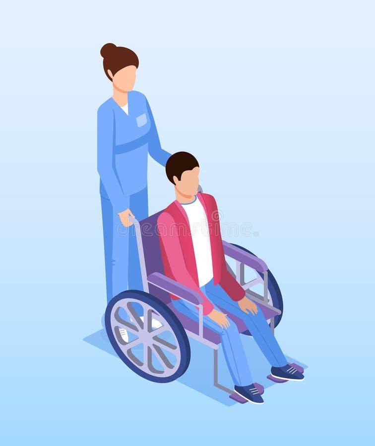 Kvinnlig sjuksköterska med den rörelsehindrade personen i rullstol vektor illustrationer