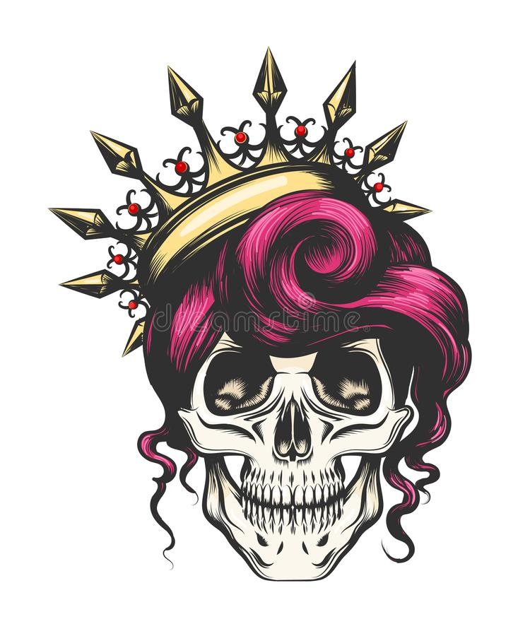 Kvinnlig skalle i krona vektor illustrationer