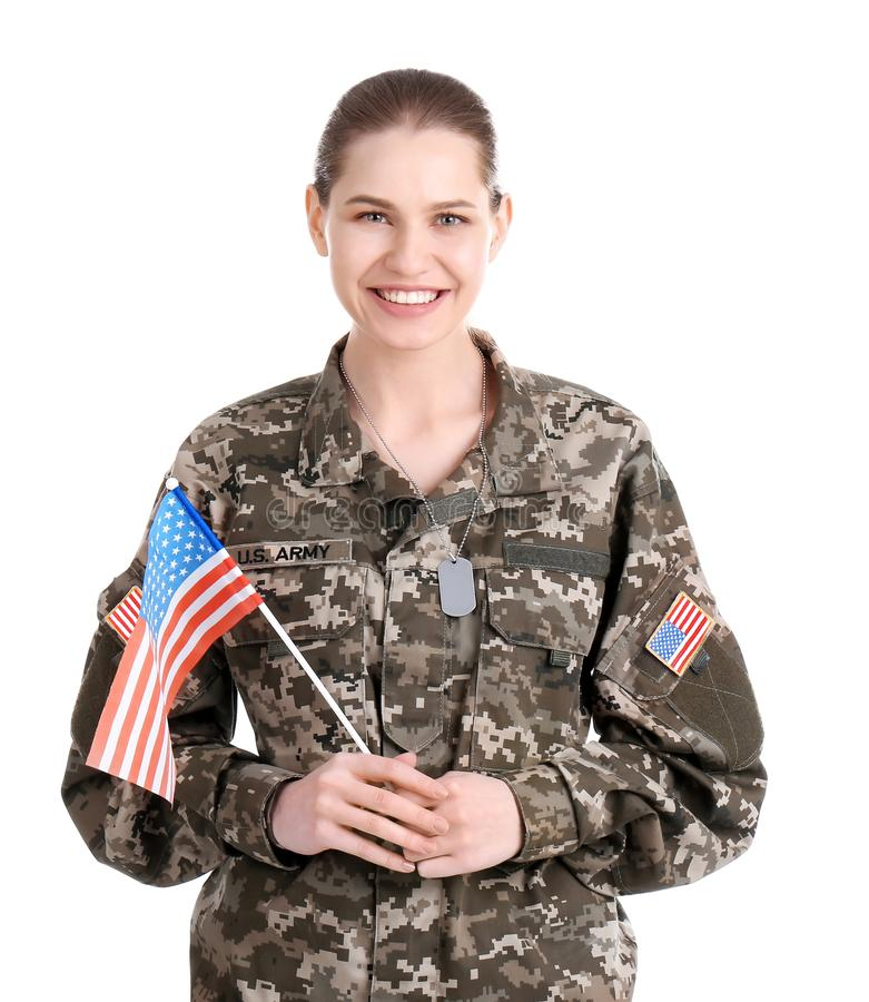 Kvinnlig soldat med amerikanska flaggan arkivfoto