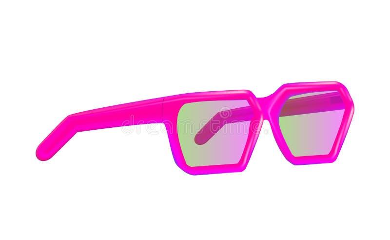 Kvinnlig sommarvektor med rosa solglasögon Isolerad illustration, eps 10 stock illustrationer