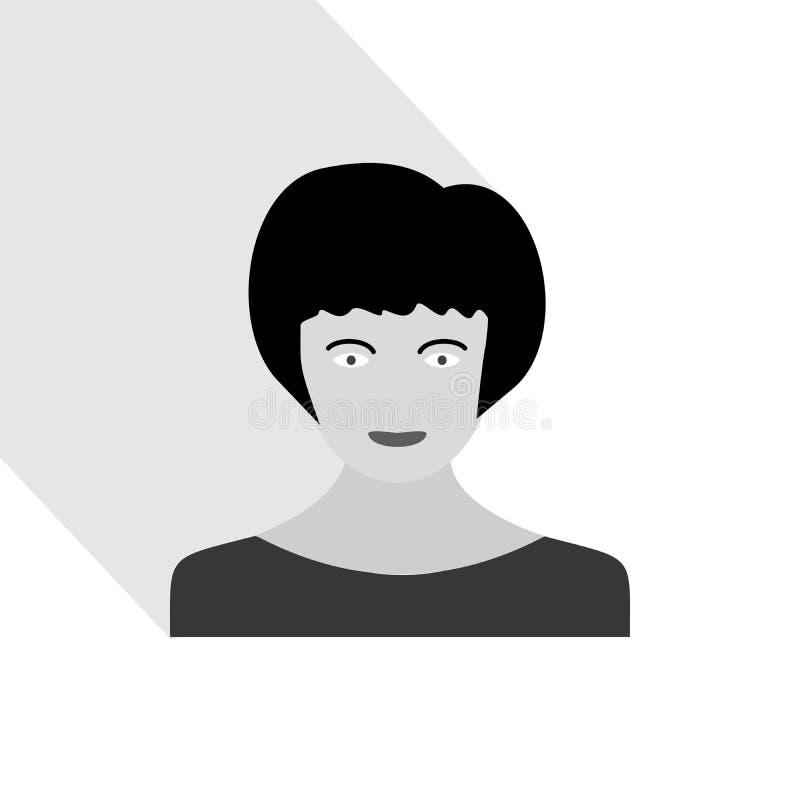 Kvinnlig stående med lång skugga Kvinnahuvud med frisyren royaltyfri illustrationer