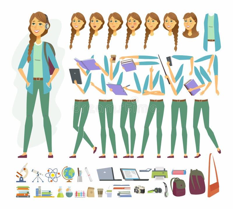 Kvinnlig student - konstruktör för tecken för vektortecknad filmfolk vektor illustrationer