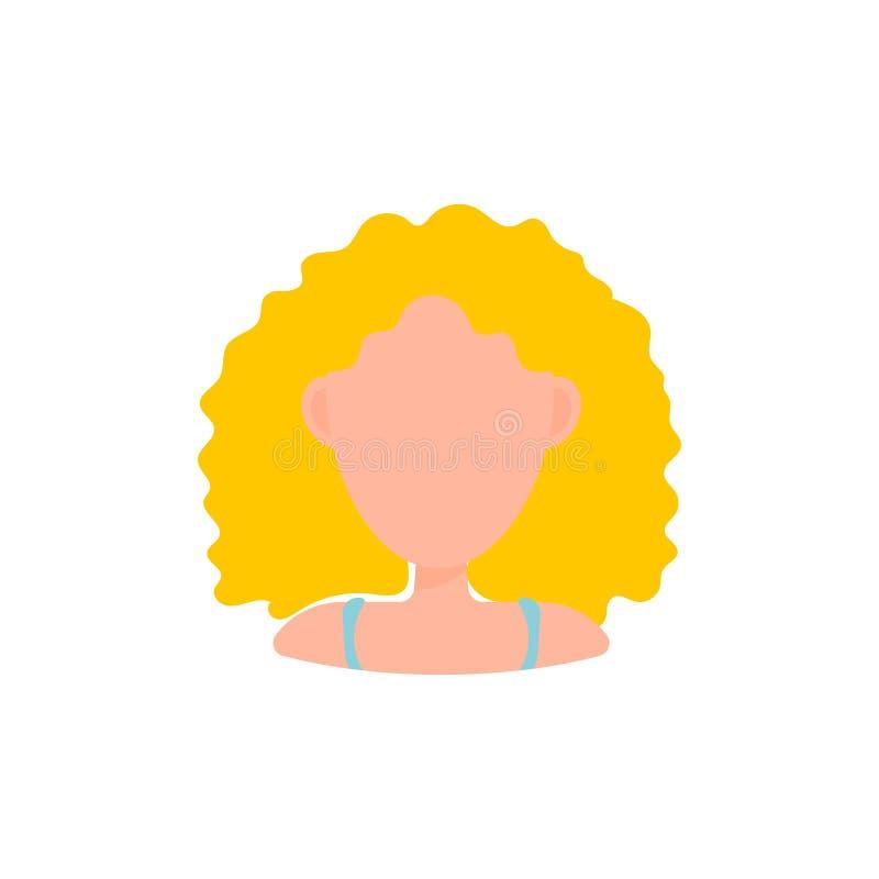 Kvinnlig symbol f?r bild f?r anv?ndareavatarprofil Isolerad vektorillustration i plant designfolktecken blond kvinna royaltyfri illustrationer