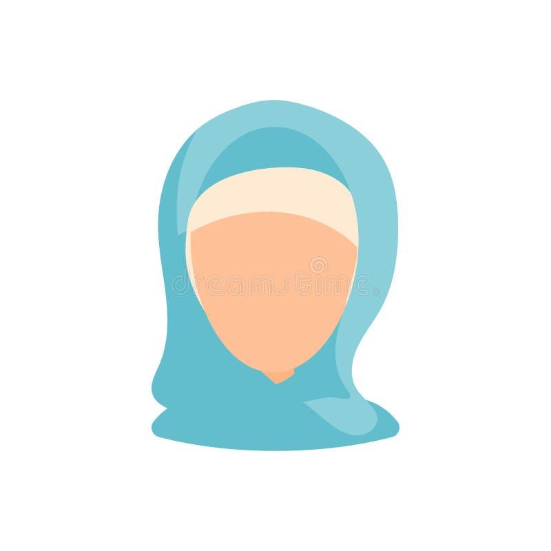 Kvinnlig symbol f?r bild f?r anv?ndareavatarprofil Isolerad vektorillustration i plant designfolktecken Muslimsk kvinna royaltyfri illustrationer