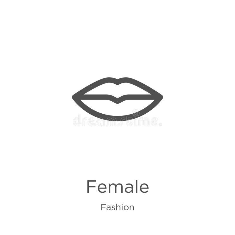 kvinnlig symbolsvektor från modesamling Tunn linje kvinnlig illustration f?r ?versiktssymbolsvektor ?versikt tunn linje kvinnlig  royaltyfri illustrationer