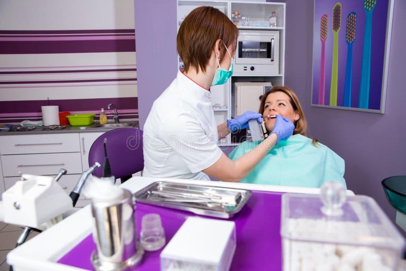 Kvinnlig tandläkare som arbetar på hennes patienter royaltyfria bilder