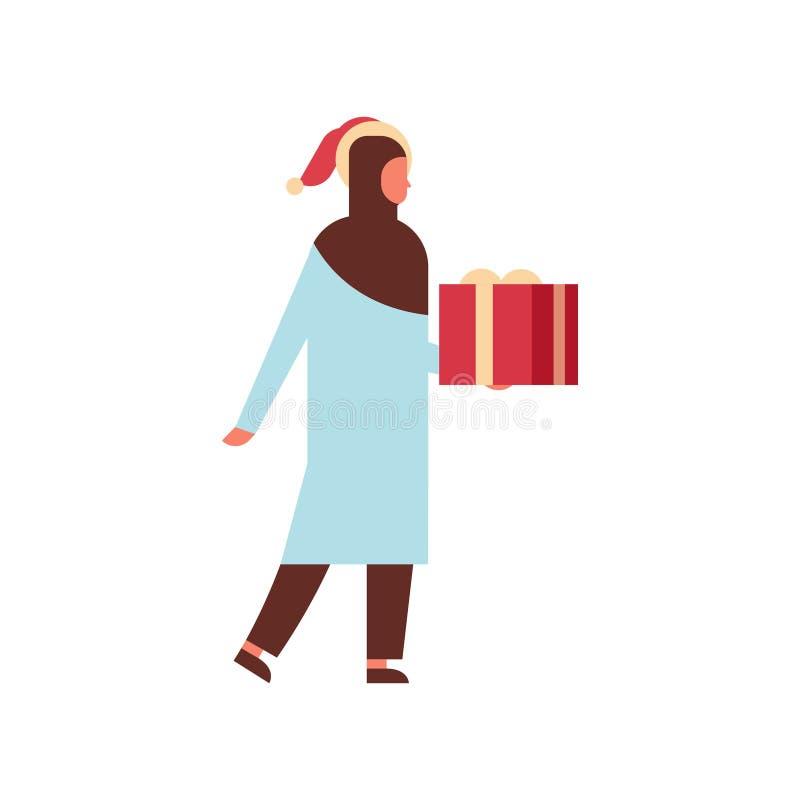 Kvinnlig tecknad film för arabisk för kvinnahållgåva för ask närvarande för glad jul för lyckligt nytt år för ferie för beröm län royaltyfri illustrationer