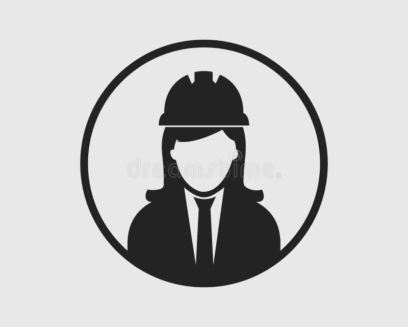 Kvinnlig tekniker Icon med cirkelform royaltyfri illustrationer