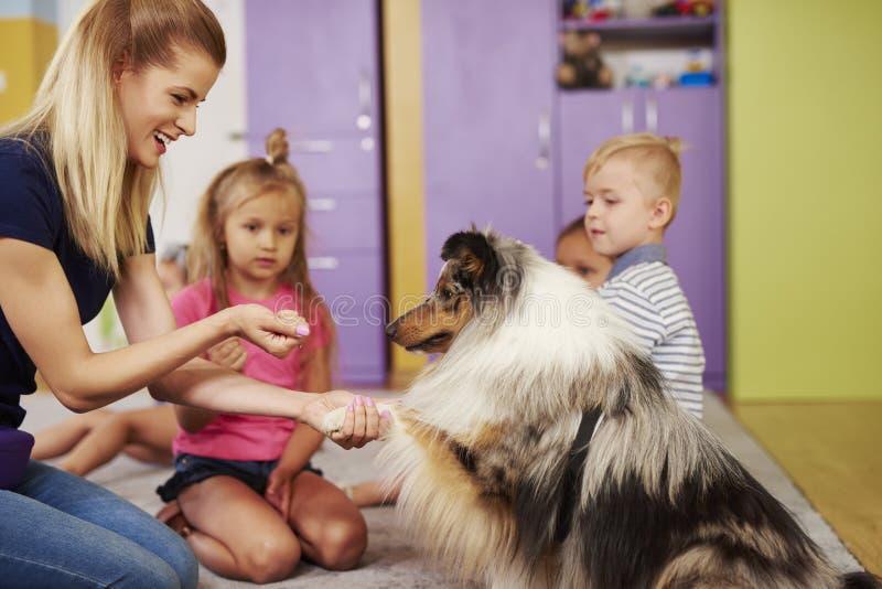 Kvinnlig terapeut och hennes hund arkivfoton