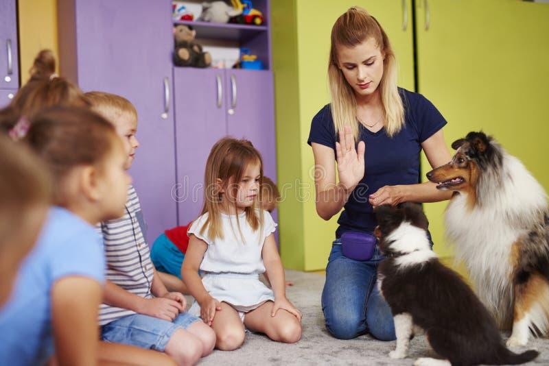 Kvinnlig terapeut och hennes hund som spelar med barn royaltyfri foto