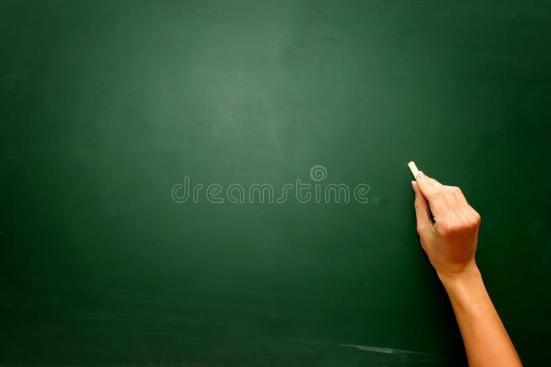 Kvinnlig tonårig hand som drar något på svart tavla med krita royaltyfria foton