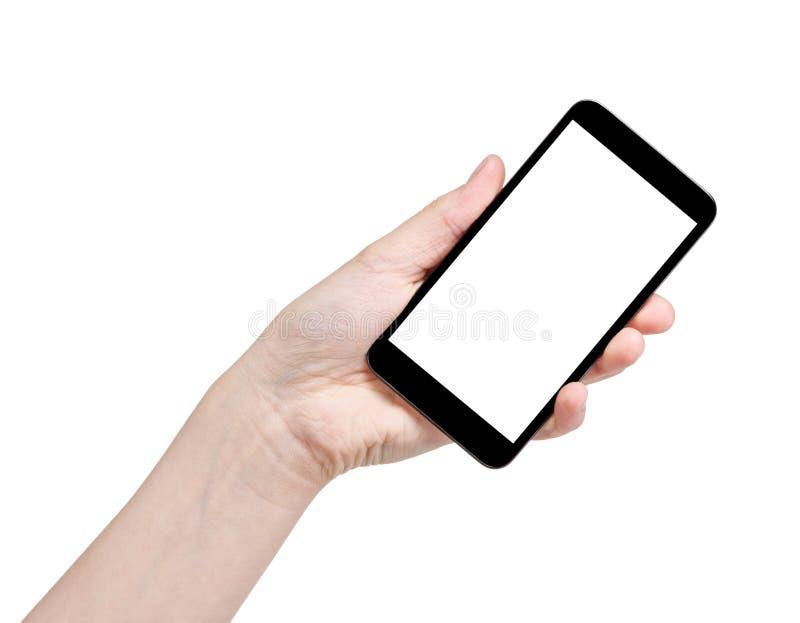 Kvinnlig tonårig hand som rymmer den generiska smartphonen royaltyfri fotografi