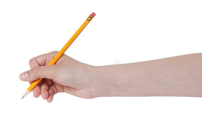 Kvinnlig tonårig handinnehavblyertspenna med radergummiöverkanten arkivfoto