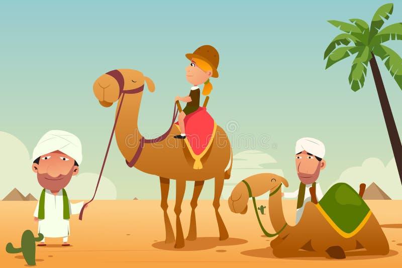Kvinnlig turist som rider en kamel i öknen vektor illustrationer
