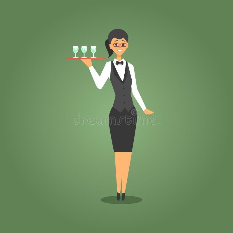 Kvinnlig uppassare In Bow Tie som tjänar som illustrationen för tecknad film för Champagne To Gamblers, dobbleri- och kasinonattk stock illustrationer