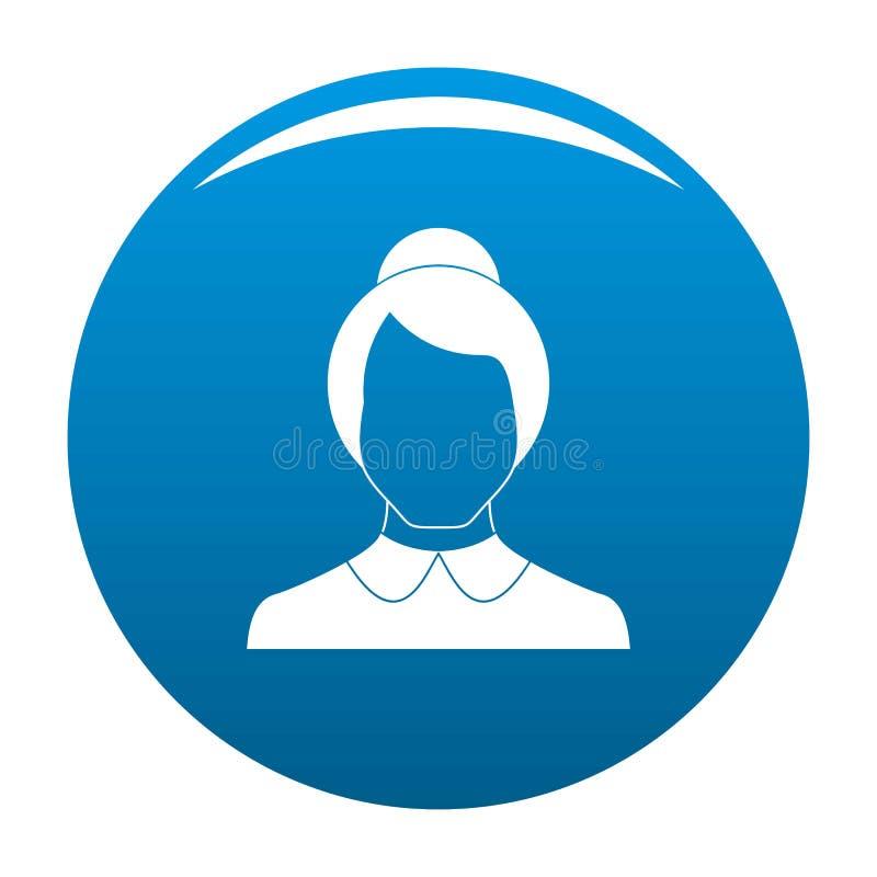 Kvinnlig vektor för användaresymbolsblått stock illustrationer