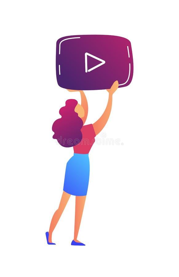 Kvinnlig video blogger som rymmer illustrationen för vektor för symbol för videospelare stock illustrationer