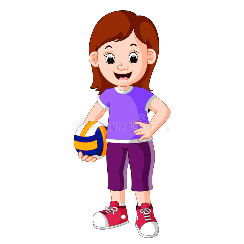 Kvinnlig volleybollspelare stock illustrationer