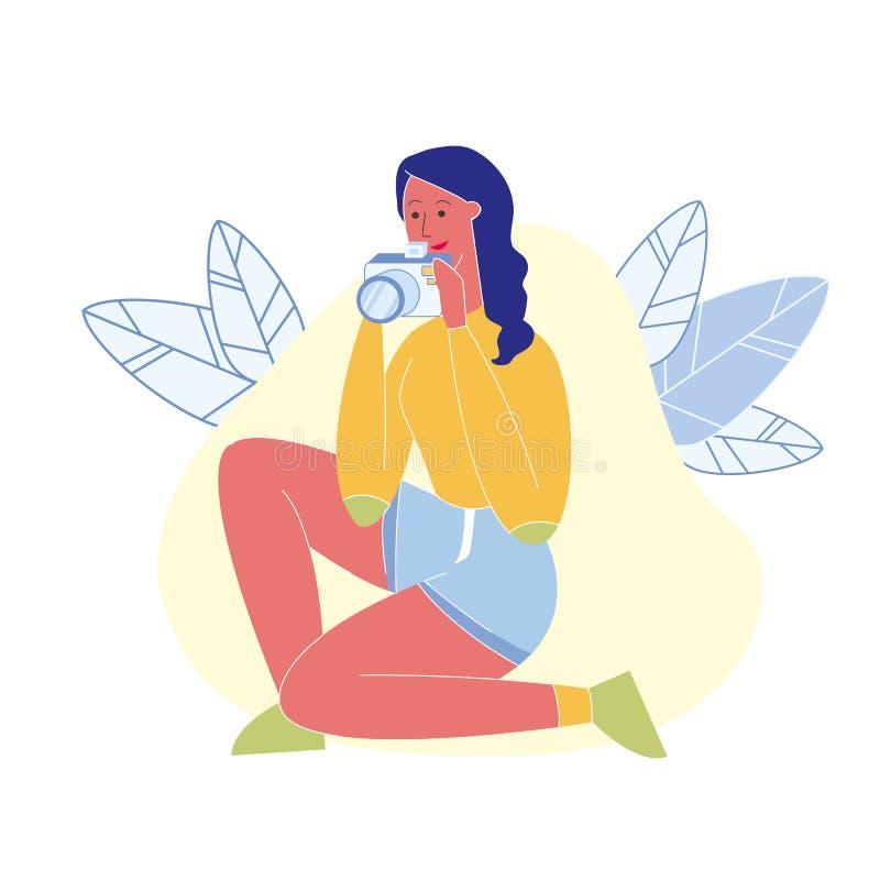 Kvinnlig yrkesmässig fotograf Flat Character royaltyfri illustrationer