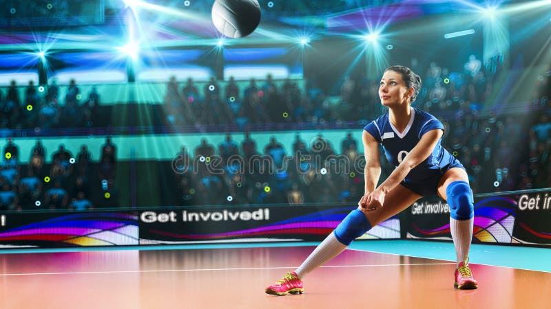 Kvinnlig yrkesmässig volleybollspelare på den storslagna domstolen royaltyfri bild