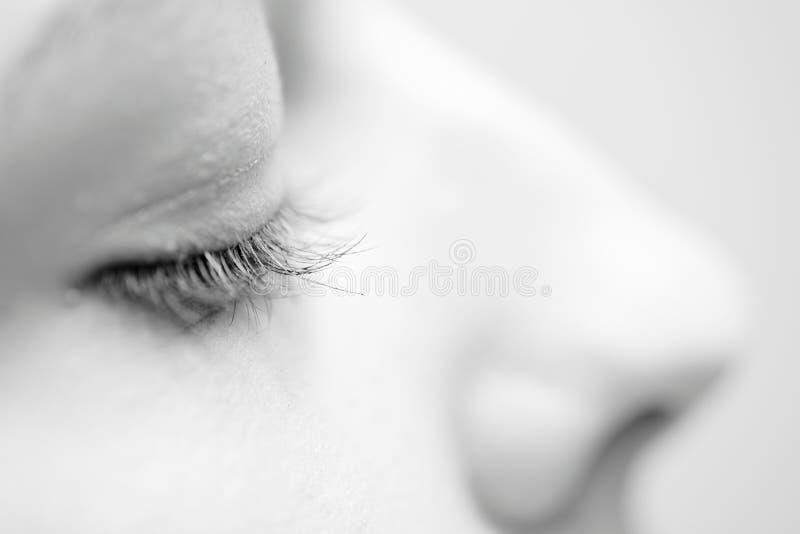 Download Kvinnliga ögonfrans I Svartvitt Fotografering för Bildbyråer - Bild av ögonfranser, mode: 76703047