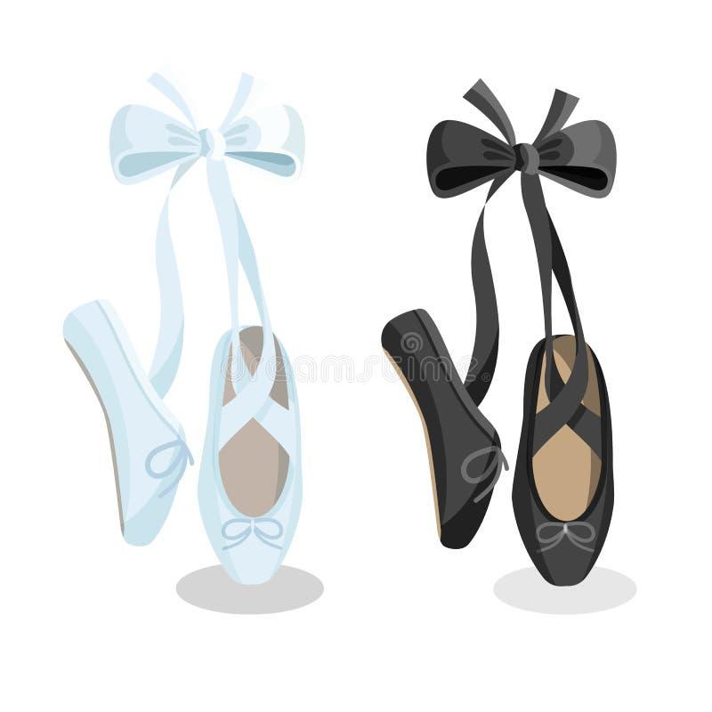 Kvinnliga balettskor för svartvita pointes på vit bakgrund royaltyfri illustrationer