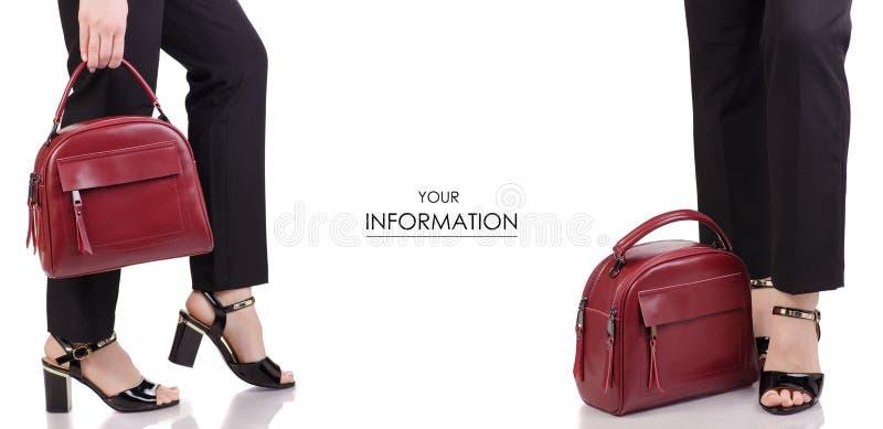 Kvinnliga ben i skor för färg för svart för klassikersvartflåsanden med den röda läderpåsen i modell för uppsättning för tillbehö royaltyfria bilder