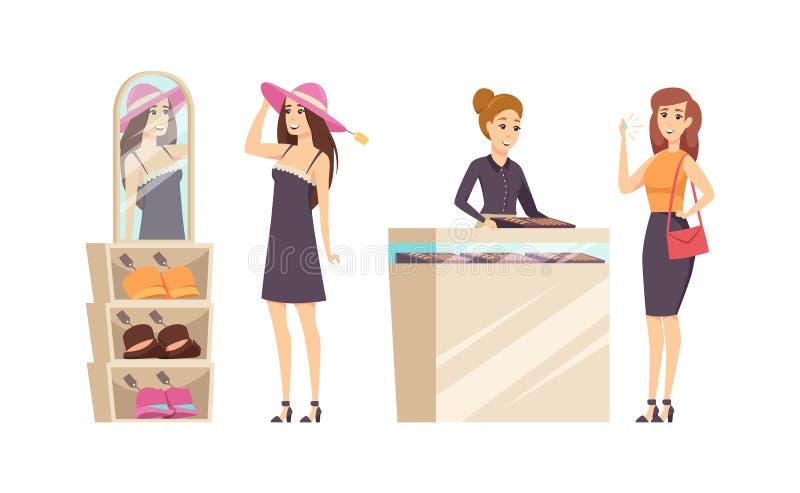 Kvinnliga försökande olika hattar shoppar in den fastställda vektorn royaltyfri illustrationer