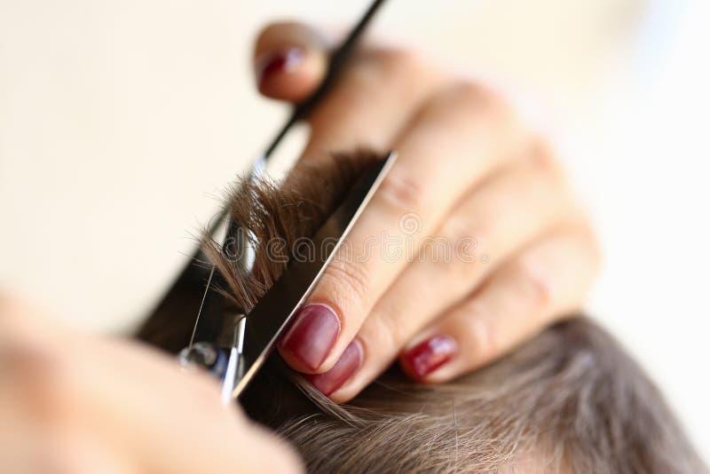 Kvinnliga fingrar som klipper manligt hår vid sax royaltyfria foton
