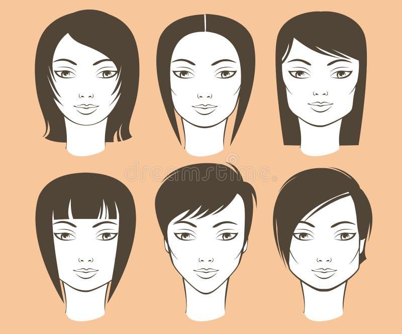 Kvinnliga framsidaformer och frisyrer stock illustrationer