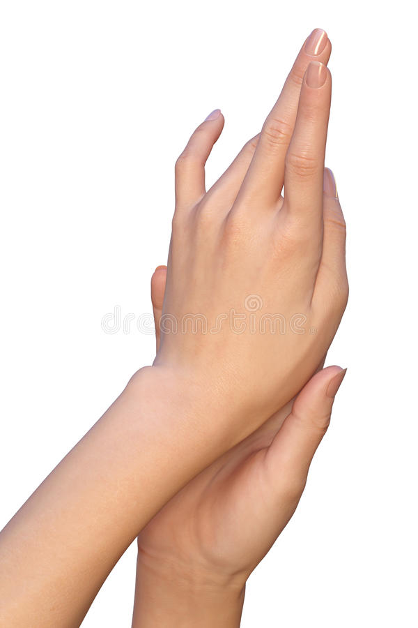 Kvinnliga händer är rörande royaltyfri fotografi