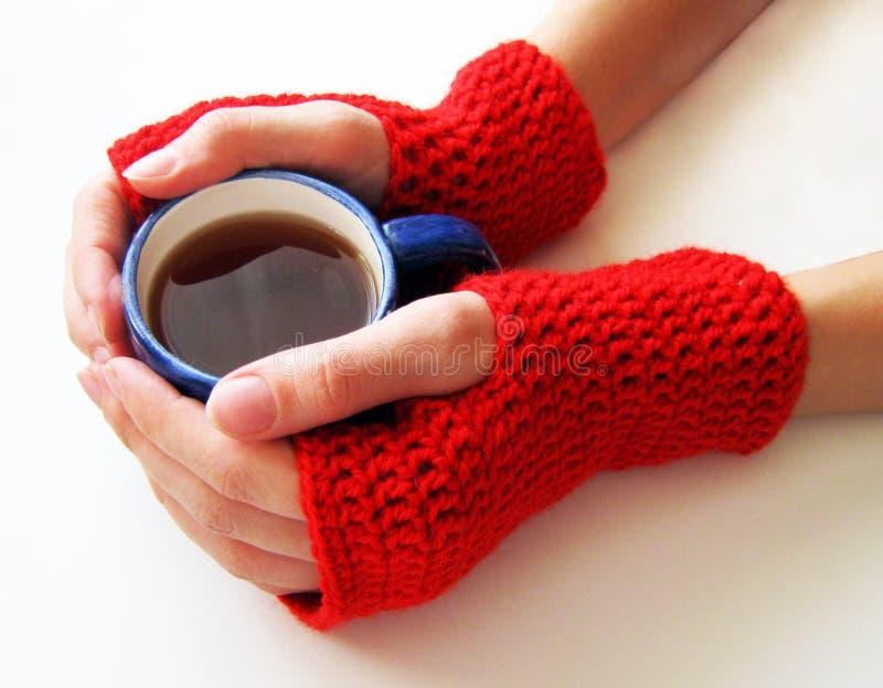 Kvinnliga händer i röda tumvanten rymmer en kopp av den varma drinken royaltyfria bilder