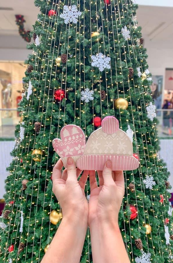 Kvinnliga händer som rymmer ljust rödbrun kakor i form av en hatt och tumvanten, mot bakgrunden av julgranen royaltyfria bilder
