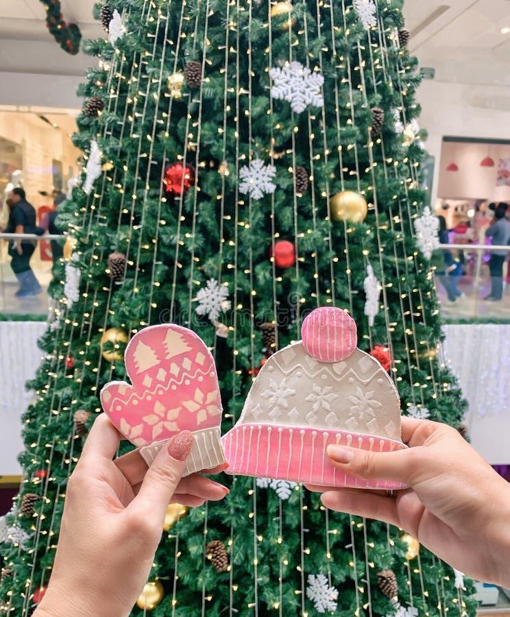 Kvinnliga händer som rymmer ljust rödbrun kakor i form av en hatt och tumvanten, mot bakgrunden av julgranen royaltyfri foto