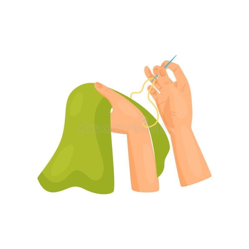 Kvinnliga händer som syr kläder Sömnad- och hobbytema Plan vektorbeståndsdel för baner av seminariet eller sykurser stock illustrationer