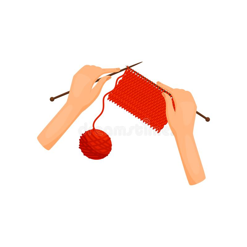 Kvinnliga händer sticker woolen kläder, bästa sikt Eker och ljust woolen garn handgjort hantverk Kvinnahobby Plan vektor stock illustrationer