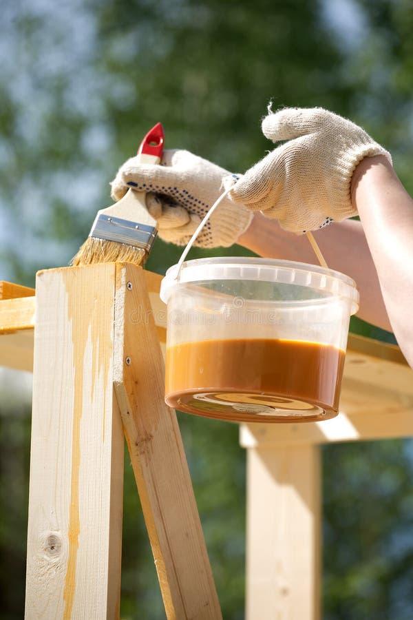 Kvinnliga handmålarfärger bryner ett trä bordlägga utomhus closeupen royaltyfria foton