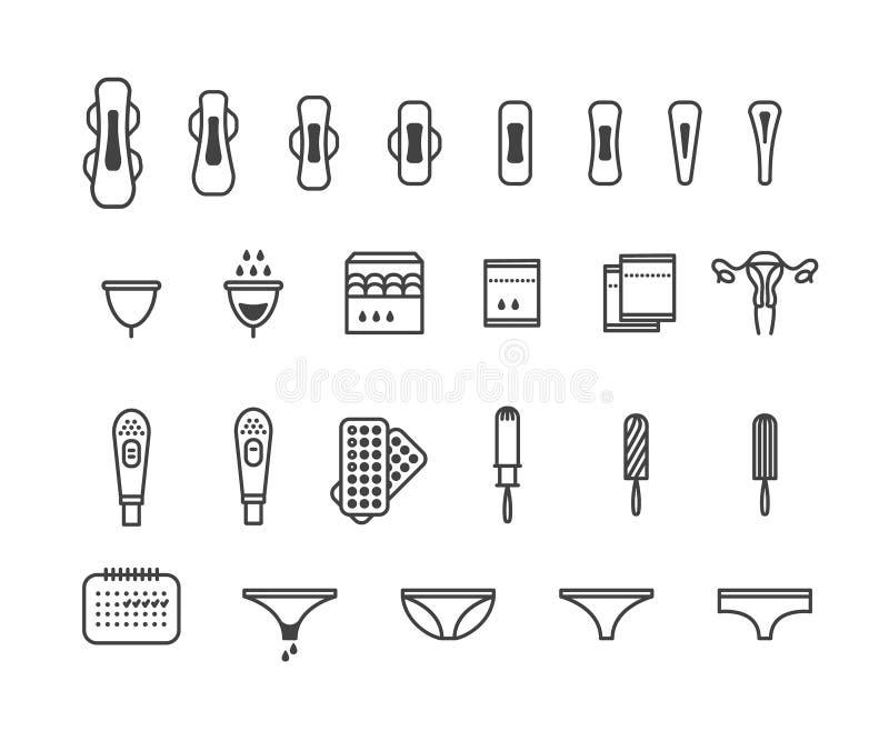 Kvinnliga hygienprodukter - sanitärt block, pantyliner, tampong, menstruations- koppsymboler royaltyfri illustrationer