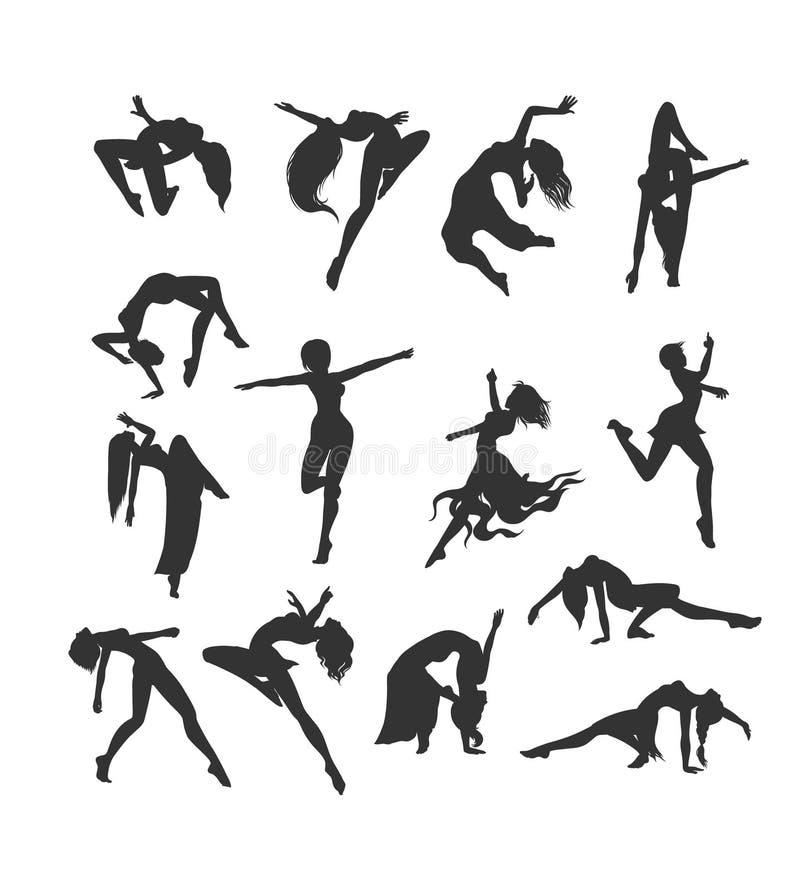Kvinnliga konturer i dans Kontur av enkla dansare stock illustrationer