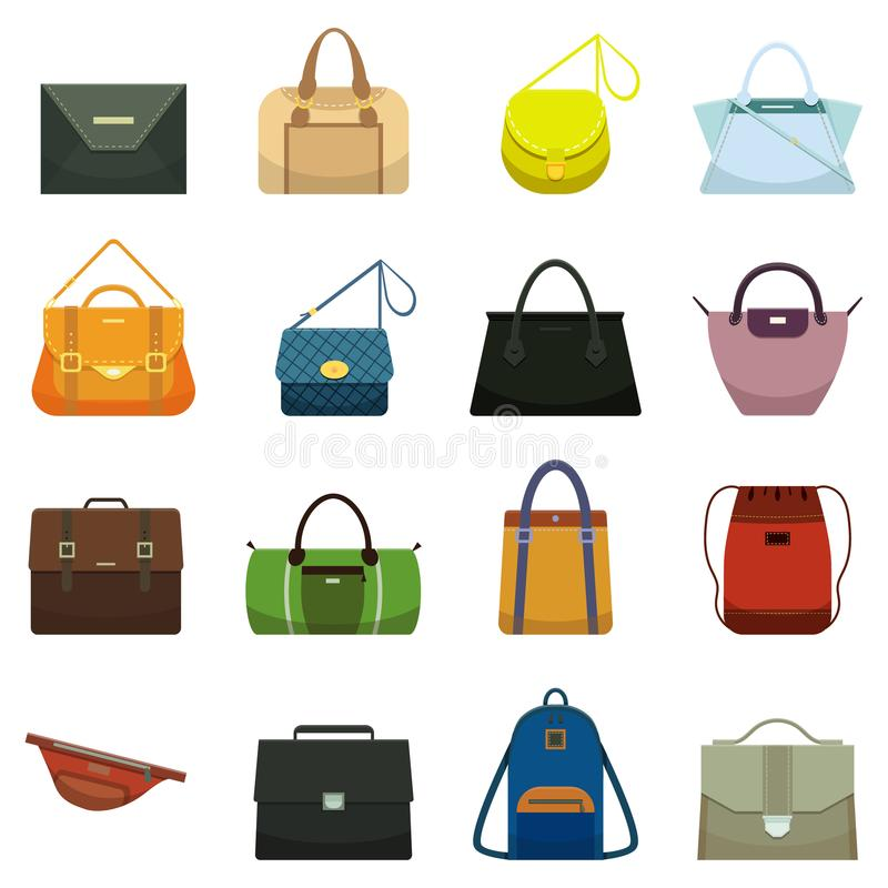 Kvinnliga läderhandväskor och manlig tillbehör Den färgrika handväskatillbehören, skönhetpåsar och handväskan modellerar samlings stock illustrationer