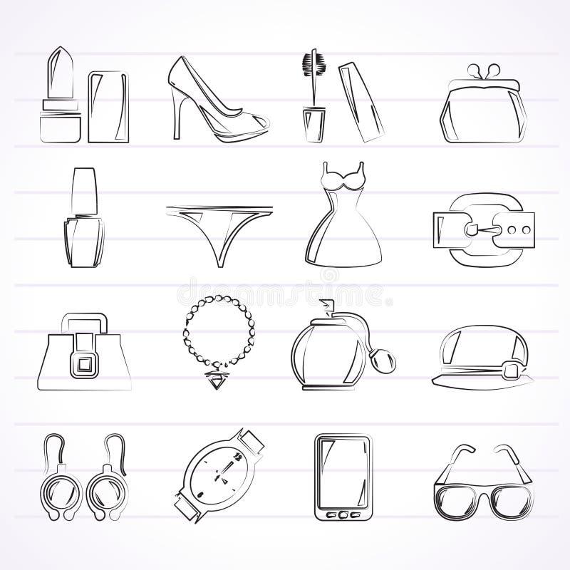 Kvinnliga modeobjekt och tillbehörsymboler royaltyfri illustrationer